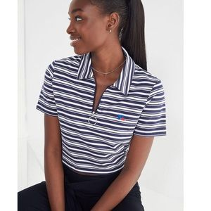 Blue and White Striped Russell Athletic Crop Top